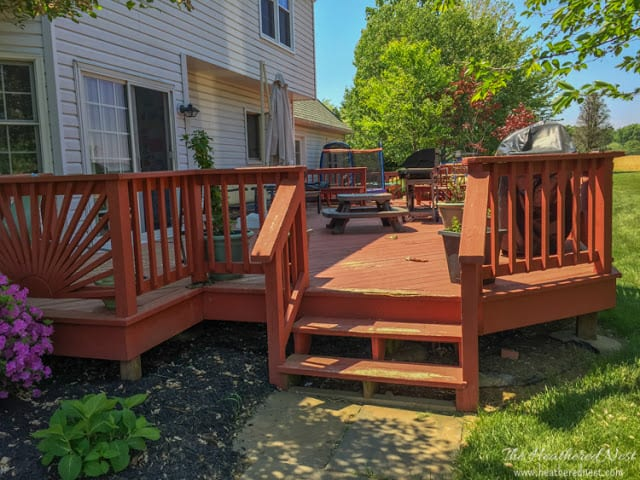 Need a DIY deck makeover without spending a fortune? A budget-conscious wood deck makeover plan/mood board. CHECK IT OUT!