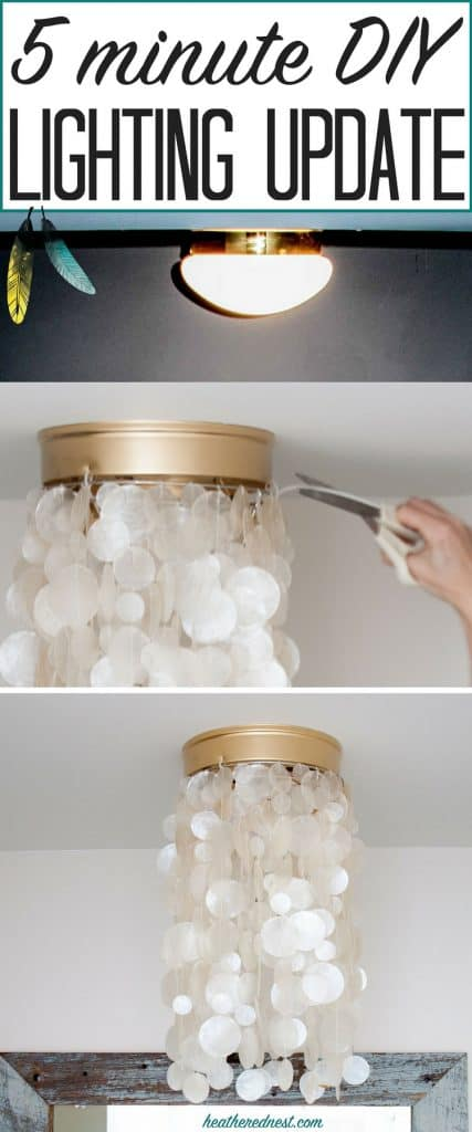 Tired of those builder grade boob lights on your ceiling? Well, this DIY hack teaches you to change them in 5-minutes...you don't even need tools! THIS IS ONE AMAZING DIY LIGHTING PROJECT!!! #booblights #ceilingmountlightfixturemakeover #diylightingideas #diylightingprojects #lightinghack #howtoupdateabuildergradeceilinglight #upgradeceilinglight #updateceilinglight #lightingupdate #capizlight