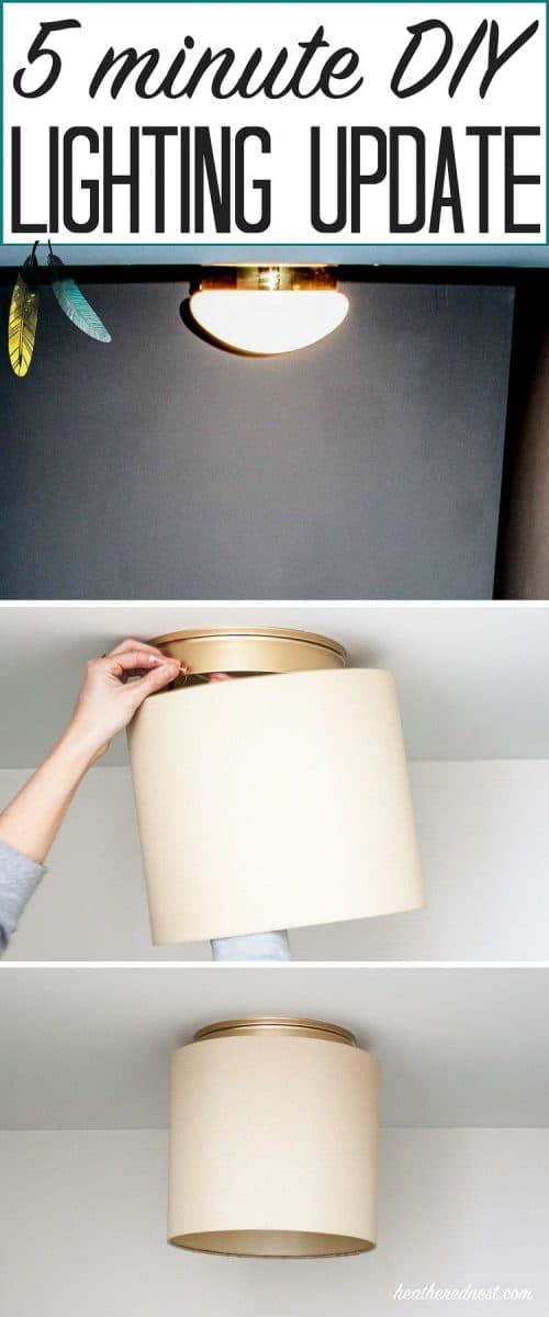 Tired of those builder grade boob lights on your ceiling? Well, this DIY hack teaches you to change them in 5-minutes...you don't even need tools! THIS IS ONE AMAZING DIY LIGHTING PROJECT!!! #booblights #ceilingmountlightfixturemakeover #diylightingideas #diylightingprojects #lightinghack #howtoupdateabuildergradeceilinglight #upgradeceilinglight #updateceilinglight #lightingupdate #drumshade