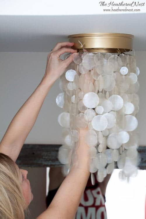 Easy Ceiling Light Shades: BAN THOSE BOOB LIGHTS! 2 DIY Tutorials to get the cleavage off your ceiling and swap those basic builder grade flushmounts for STUNNERS...NO TOOLS NEEDED!!