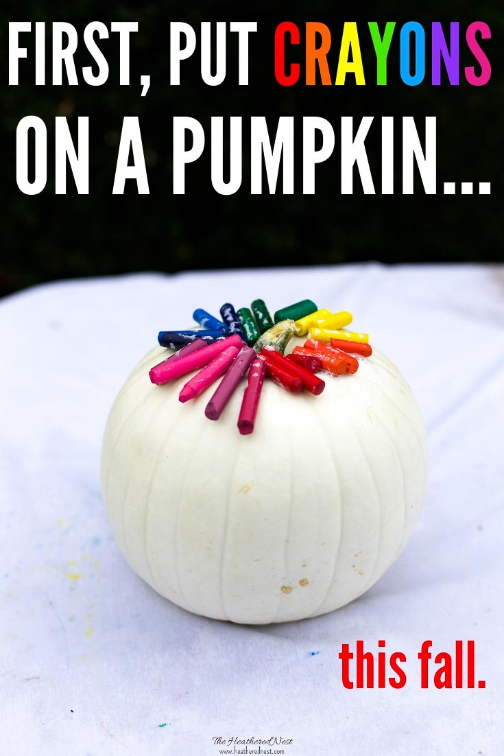 Make a gorgeous no carve pumpkin this fall using old, beat up crayons!! It's a gorgeous colorful and fun DIY craft to do with the kids ASAP! #nocarvepumpkinideas #meltedcrayonart #meltedcrayoncrafts #meltedcrayonpumpkin #crayonprojects #crayoncrafts #pumpkincrafts #pumpkincraftideas