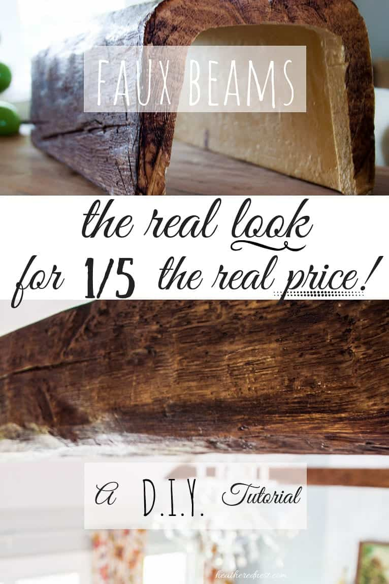 WOW! They look just like real WOOD BEAMS! Faux beams are super affordable! Learn how to install faux beams with this popular DIY tutorial from heatherednest.com #fauxbeams #fauxwoodbeams #DIYfauxbeams #howtoinstallfauxbeams #woodbeams #beamsceiling #beamslivingroom #beamsinkitchen #beamsonvaultedceiling #beam #fauxbeamceiling #fauxbeamideas