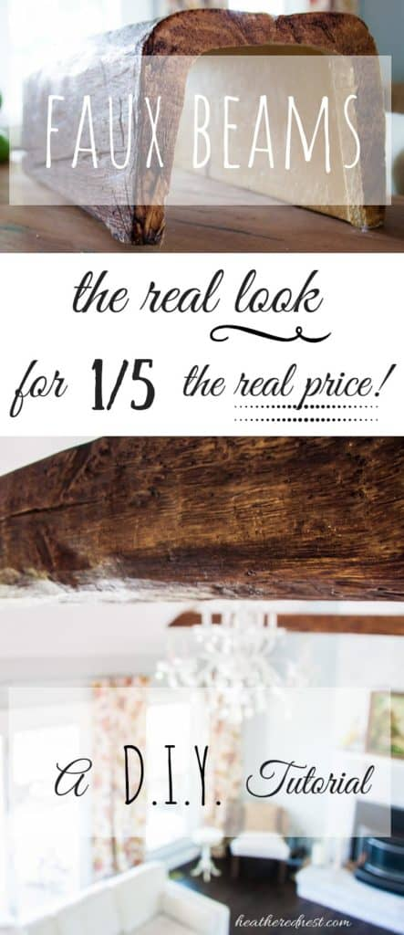 """closeup of a faux wood beam installed in a living room - text overlay """"the real look for 1/5 the real price"""""""