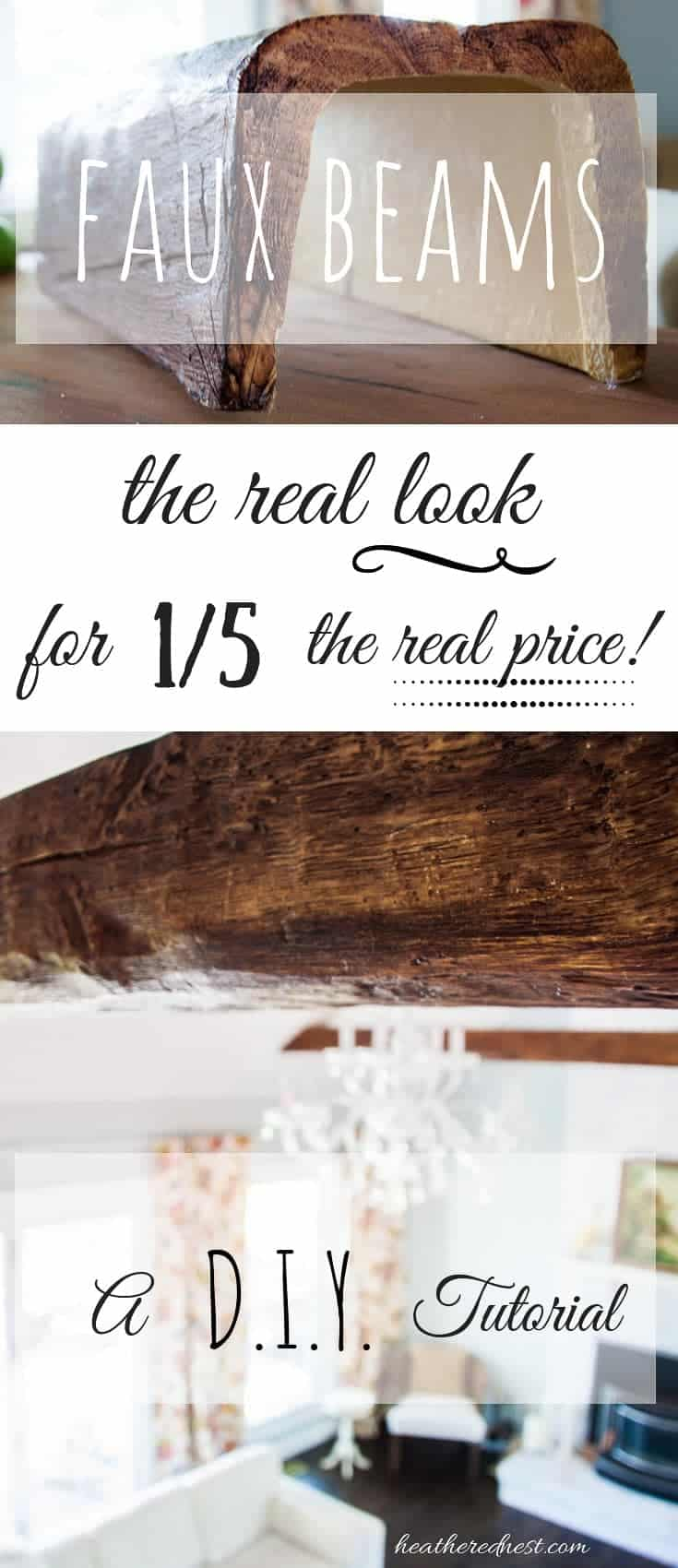 """closeup of a faux wood beam installed in a living room - text overlay \""""the real look for 1/5 the real price\"""""""