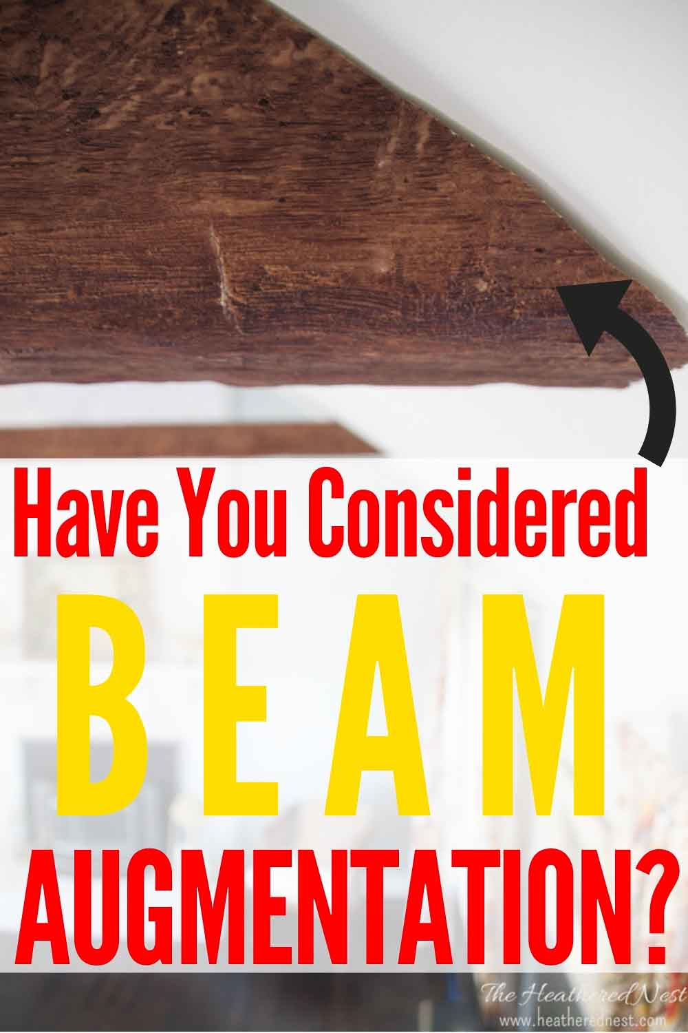 """closeup of an installed faux beam text overlay \""""have you considered a beam augmentation"""