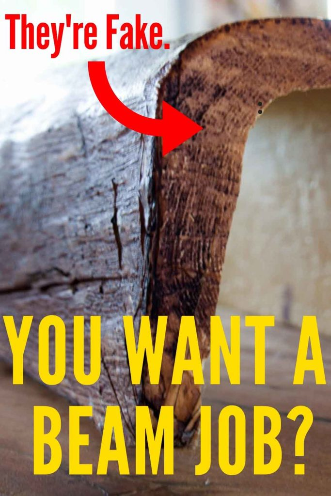 WOW! They look just like real WOOD BEAMS! Faux beams are super affordable! Learn how to install faux beams with this popular DIY tutorial