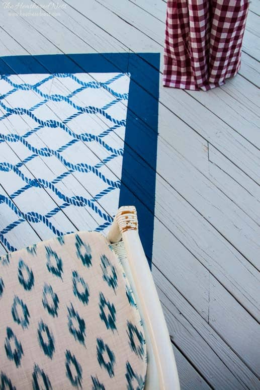 "DIY rug...our outdoor stenciled painted ""rug"" tutorial! A practical way to add fun and a punch of color to your outdoor living space! from www.heatherednest.com"