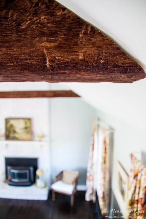 These faux beams were installed on an angled ceiling, so the ends were cut to accommodate the angle of the ceiling as seen in this closeup image. Cutting faux wood beams is not difficult as they are made of a dense foam.