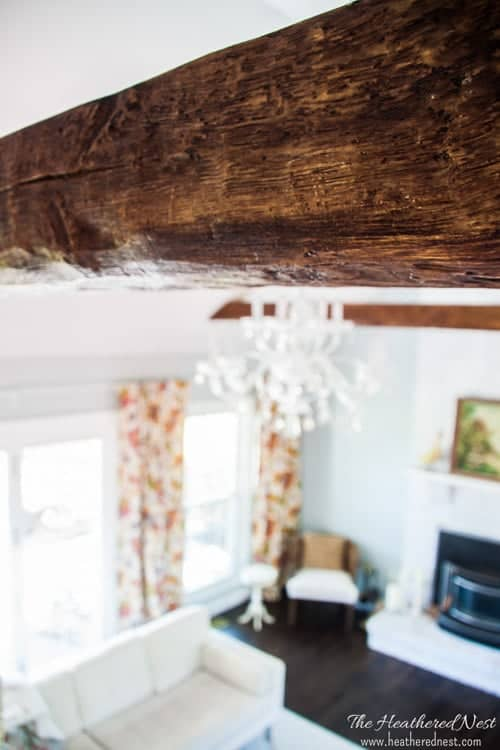 learn how to install faux beams with this DIY tutorial. And get a closeup look, like this one...they really look like wood beams!