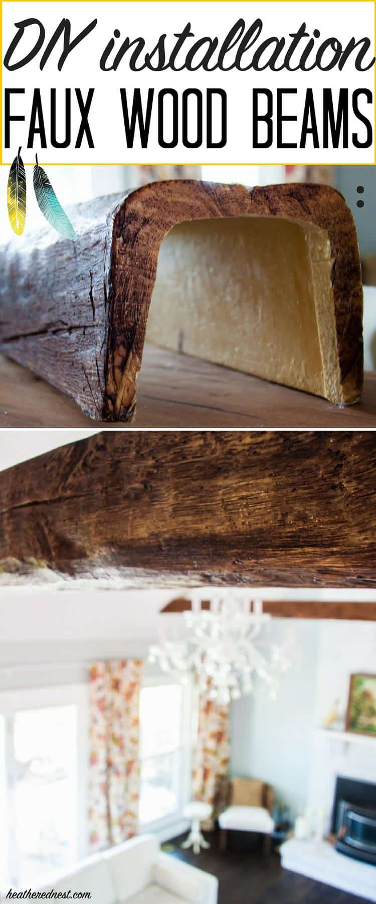 2 close-up images of faux wood beams