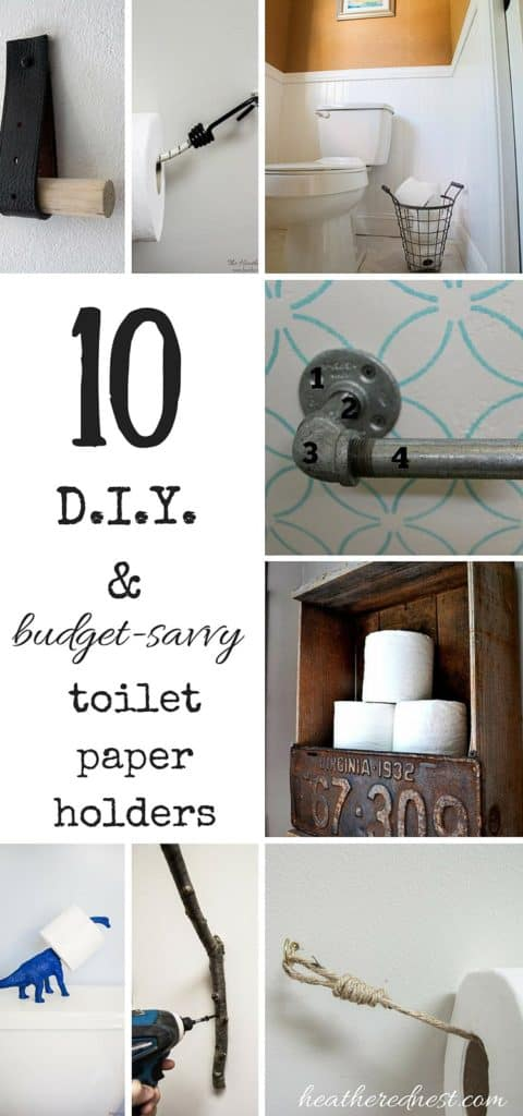 10 Easy & Affordable DIY Toilet Paper Holders! Don't spend a fortune on a TP holder! Try one of these fun options instead! #DIY #tp #toiletpaperholderideas #toiletpaperholder #tpholderideas #tpholderDIY #tpholderawesome #toiletpaper #toiletpaperholderDIY