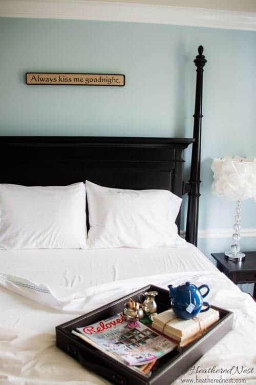 Black and white and blue master makeover from Heathered Nest