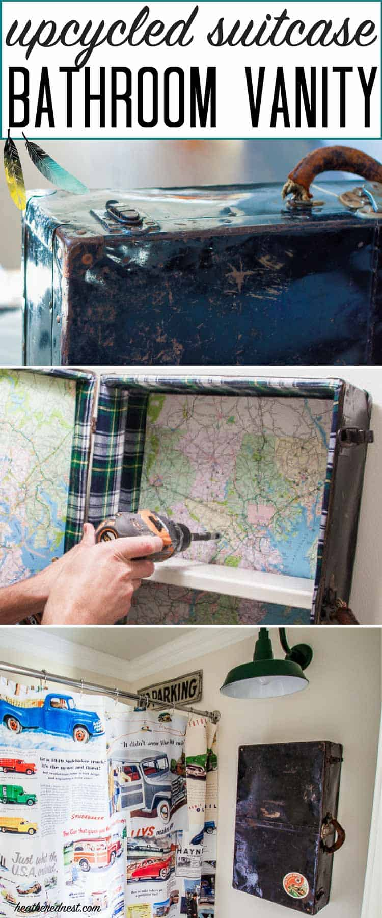 So COOL! Tutorial for making a DIY medicine cabinet from an upcycled suitcase from heatherednest.com. Vintage suitcases are popular right now. Great old suitcase idea!!