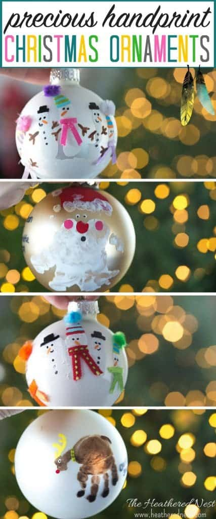 #DIY Handprint Christmas Ornament Ideas! So easy, so precious!! heatherednest.com #handprint #handprintart #Christmastree #Christmasornaments