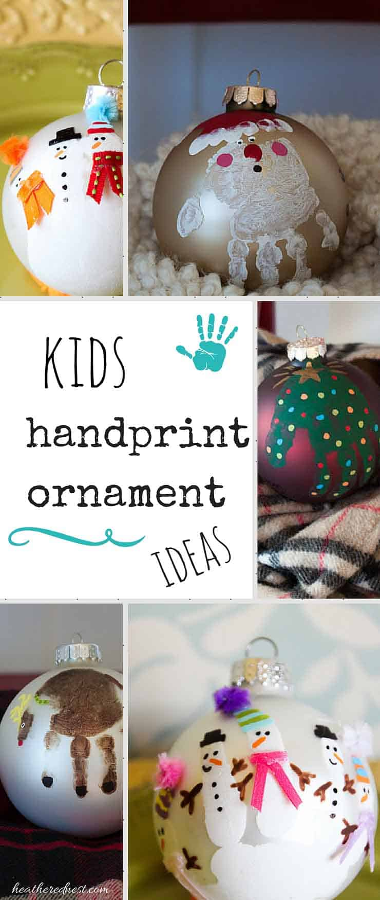 Handprint Ornament and DIY Christmas Ornament Ideas | The Heathered Nest