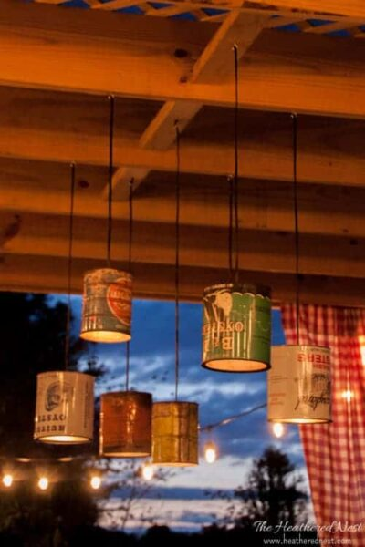 AMAZING DIY! Outdoor (or indoor) tin can chandelier/pendant light! Tutorial from heatherednest.com