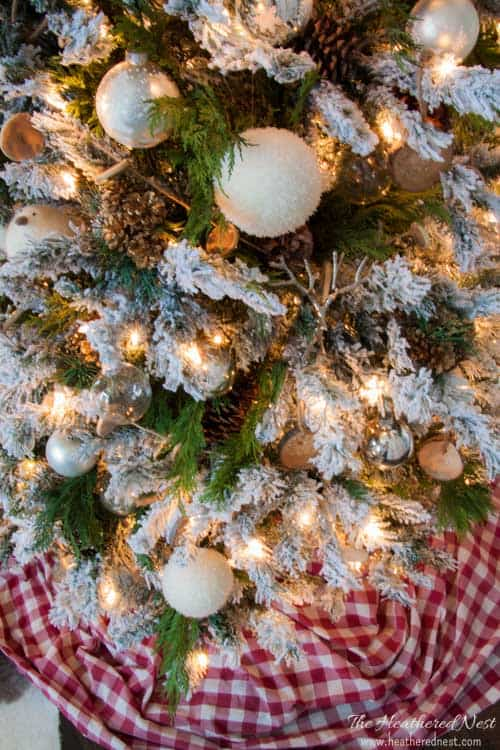 """""""Spruce"""" up your fake christmas tree with real pine branches!! IT'S FREE!! And SUPER EASY!! heatherednest.com"""
