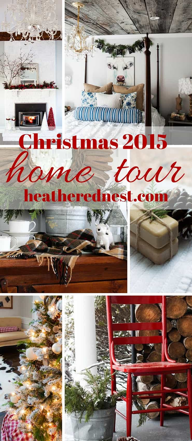 Join us at the heatherednest.com for our 2015 Christmas home tour with hometalk.com and countryliving.com. Lots of rustic, natural, inexpensive DIY decor inspiration.
