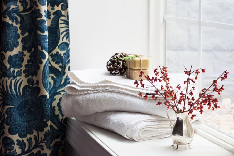 details shot in holiday home tour, gust bedroom