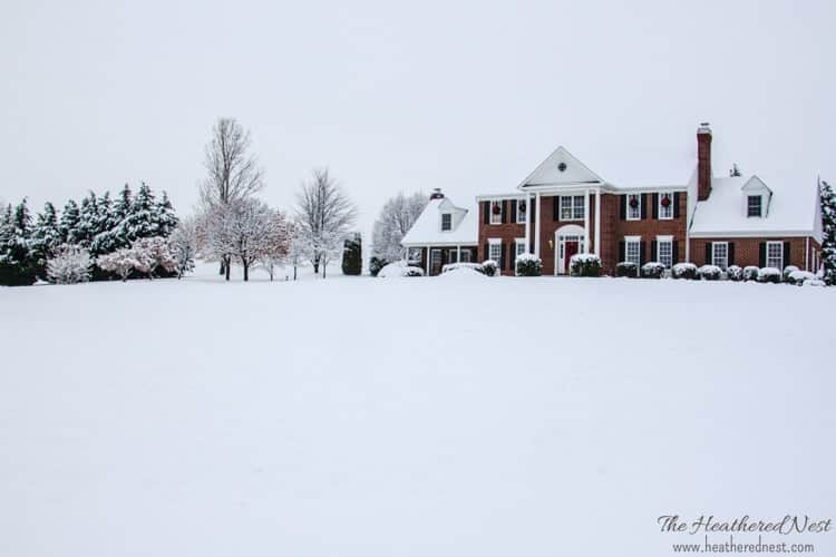 heathered nest holiday home tour exterior shot in snow