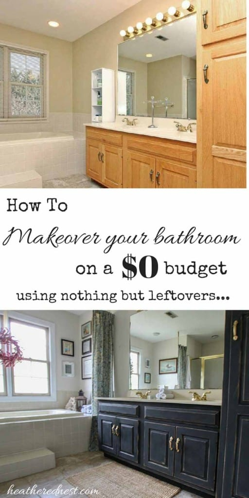 Got an outdated bathroom but no budget to renovate? Check out our $0 makeover, using nothing but household leftovers! Come see this $0 bath makeover using nothing but leftovers NOW at Heathered Nest!! #bathroomremodel #bathroomideas #bathroomideasonabudget #bathroomideassimple #freebathroommakeover #bathroomdecorideasonabudget