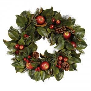 Magnolia, Pinecone & Apple Wreath