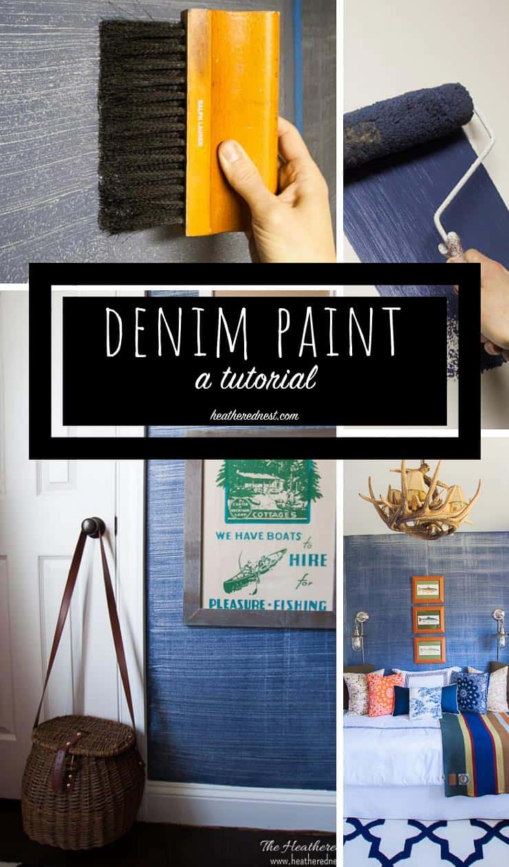 Denim faux finish for walls! GREAT paint idea to add texture and interest for an upscale look on a budget! Looks like grasscloth or real denim jeans!! #denimpaint #fauxfinish #denimpaintingdiy #denimpainttechnique #denimtexture #indigopaint #paintthatlookslikejeans