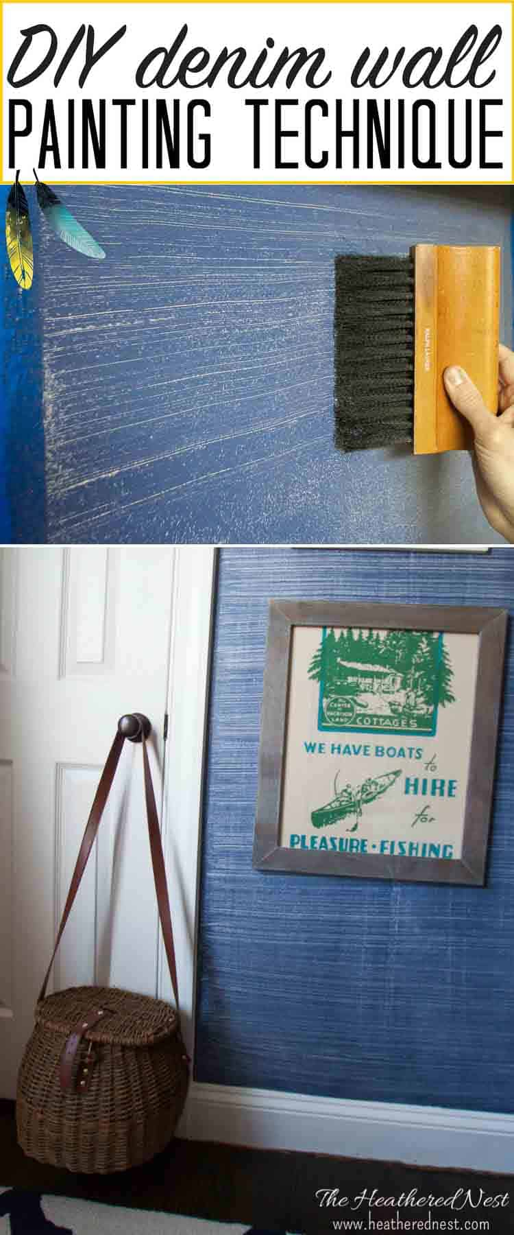 Denim faux finish for walls! GREAT paint idea to add texture and interest for an upscale look on a budget! Looks like grasscloth or real denim jeans!! #denimpaint #fauxfinish #denimpaintingdiy #denimpainttechnique