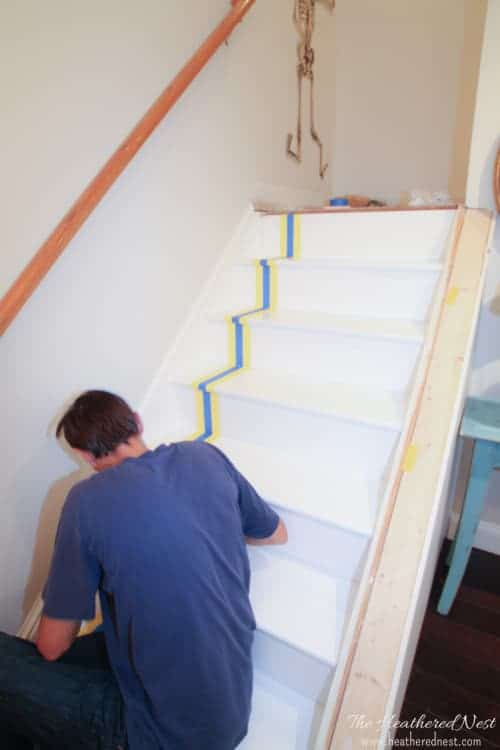 DIY painted stairs tutorial from www.heatherednest.com. Love this stairway design done on the cheap! The results are amazing.