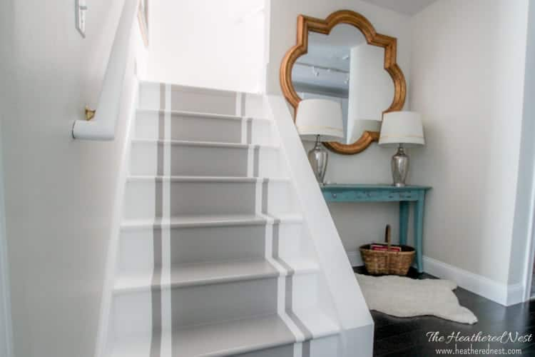 INCREDIBLE stair makeover with PAINT! SO much cheaper than stain or new stairs!! Great painted stairs DIY tutorial. If you can hold a paintbrush, you can easily learn how to paint stairs!!