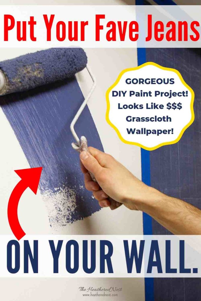 Denim faux finish paint for walls! Looks like expensive wallpaper or grasscloth, for a FRACTION of the price! GREAT paint idea to add texture & interest for an upscale look on a budget! #denimpaint #fauxfinish #denimpaintingdiy #denimpainttechnique #indigopaint #denimtexture #bluepaint #paintingideas #DIYpaintprojects