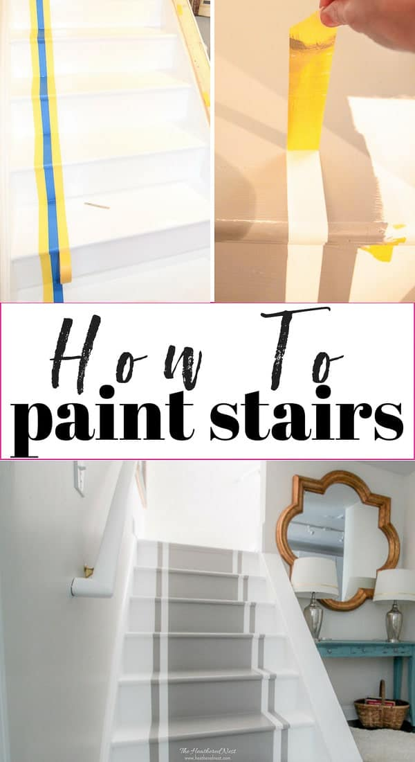 How to paint stairs. A DIY tutorial for an inexpensive stair makeover with paint! #howtopaintstairs #stairsmakeover #paintedstairs #DIYpaintedstairs