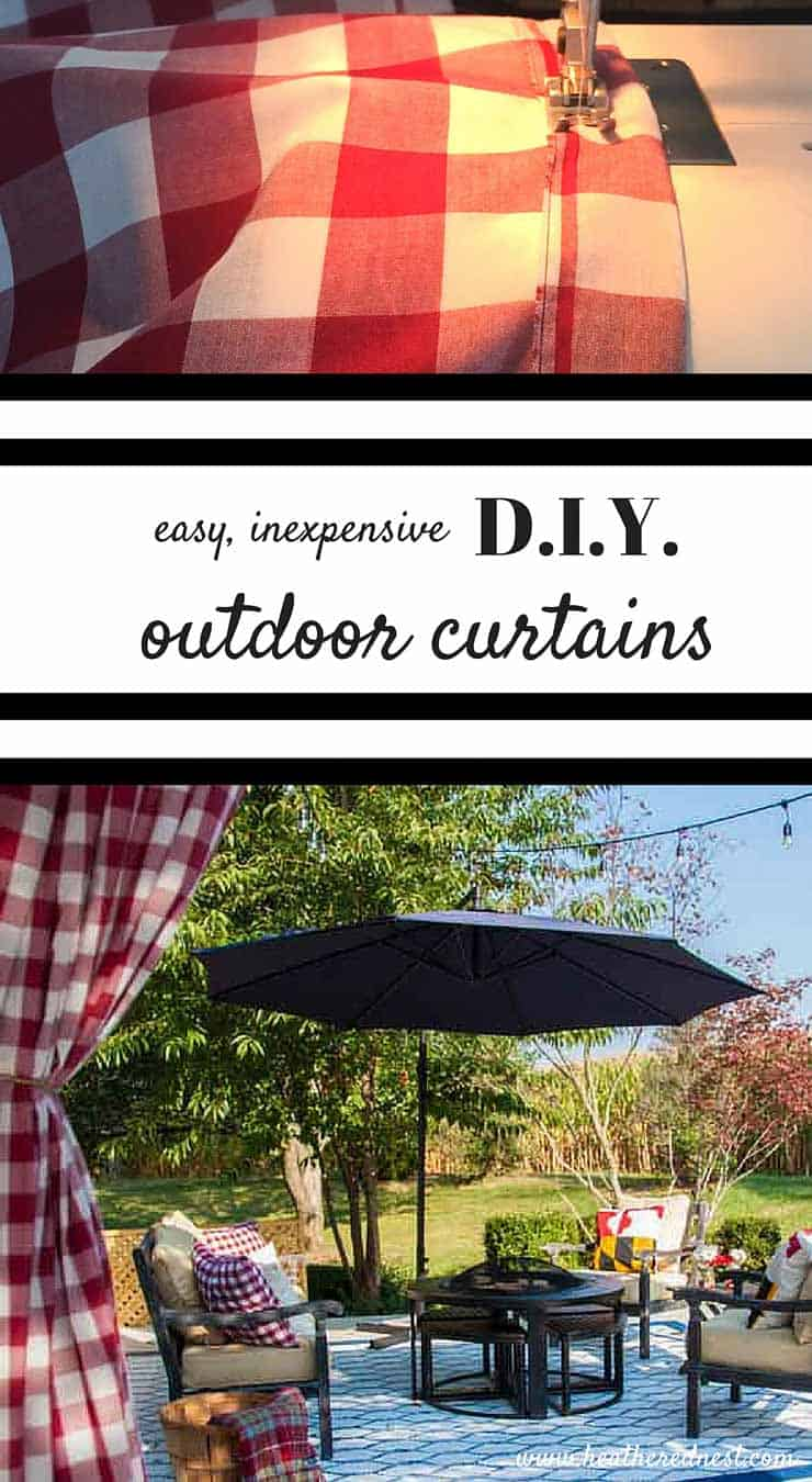 DIY curtains for your outdoor space...less than $3/yard. EASY DIY project that makes a BIG difference in your outdoor entertaining area!! THIS IS GREAT!! www.heatherednest.com