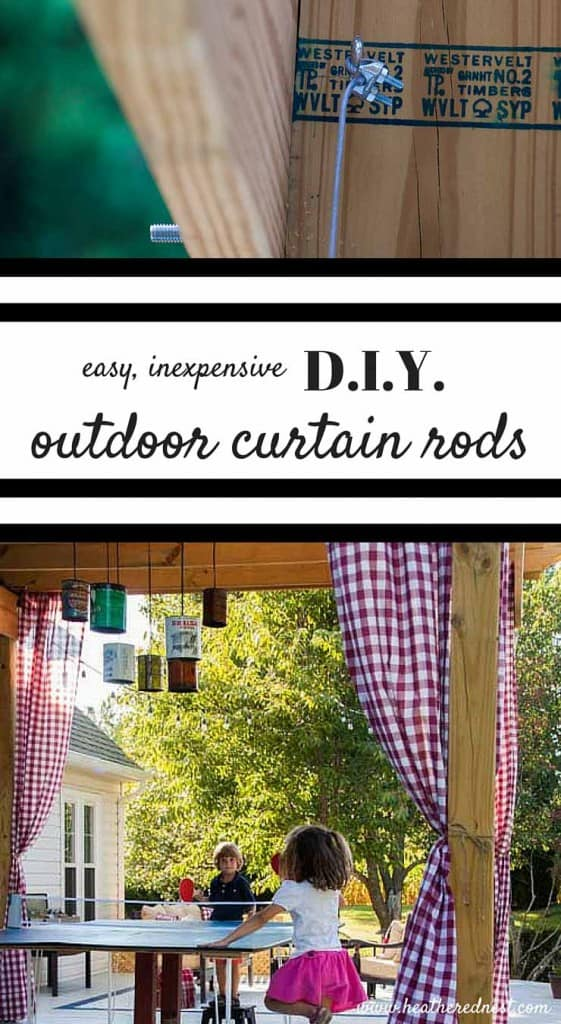 AWESOME IDEA!! DIY curtain rods for your pergola/outdoor entertaining area!! Made with cable wire, super easy and inexpensive!!! from www.heatherednest.com