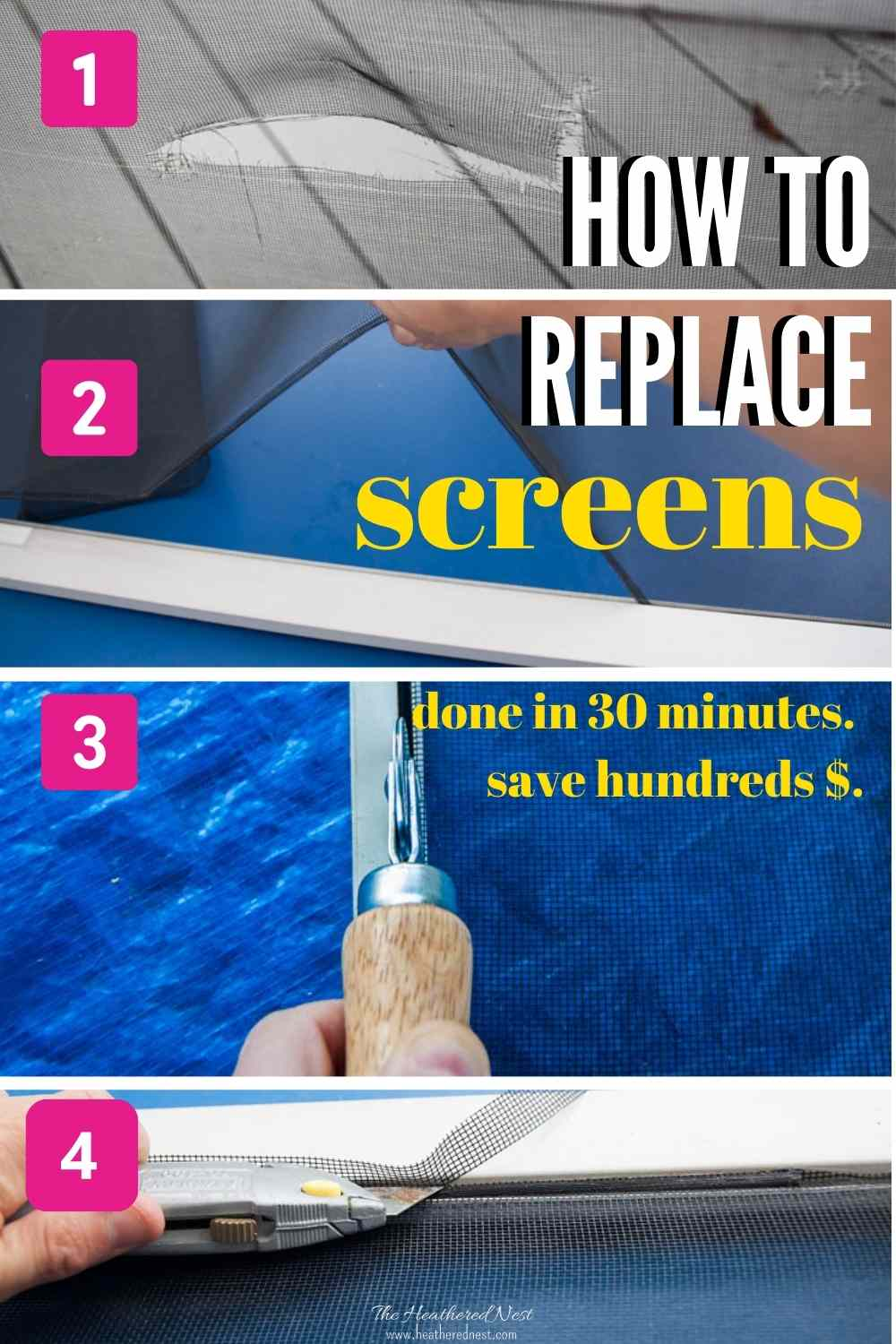 How to replace screens - done in 30 minutes, save hundreds - four step process shown.
