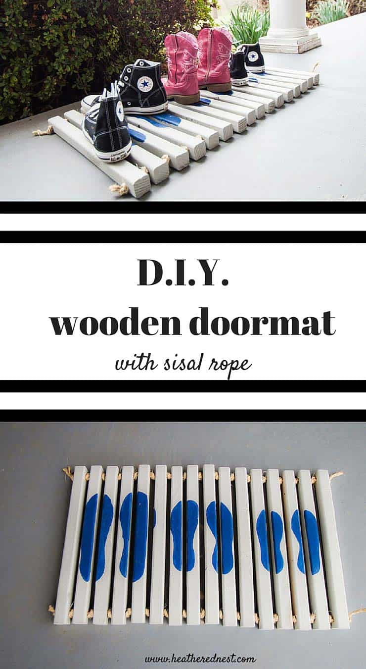 Learn how to make this easy wooden DIY doormat from Home Depot #DIYWorkshop and www.heatherednest.com