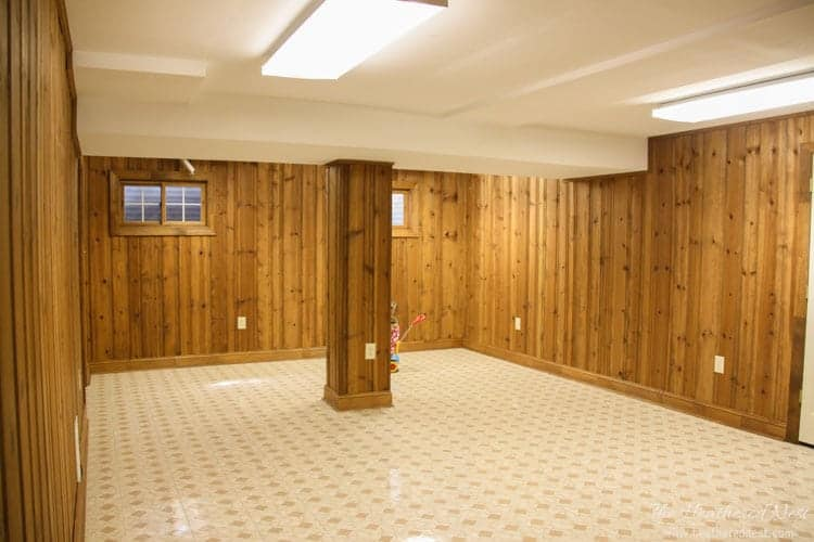BEFORE basement paneling basement ideas and basement design ideas www.heatherednest.com