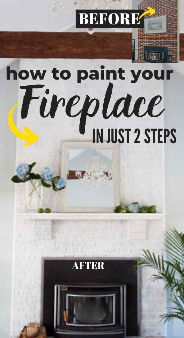 How to paint a brick fireplace in 2, basic steps. Simple DIY project tutorial for a super affordable and easy project, even for a beginner DIY'er.