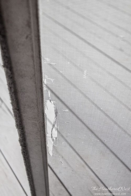 Holes, gashes, rips or tears in your window screen or door screen? Rescreening is and easy DIY project! We'll show you how! www.heatherednest.com