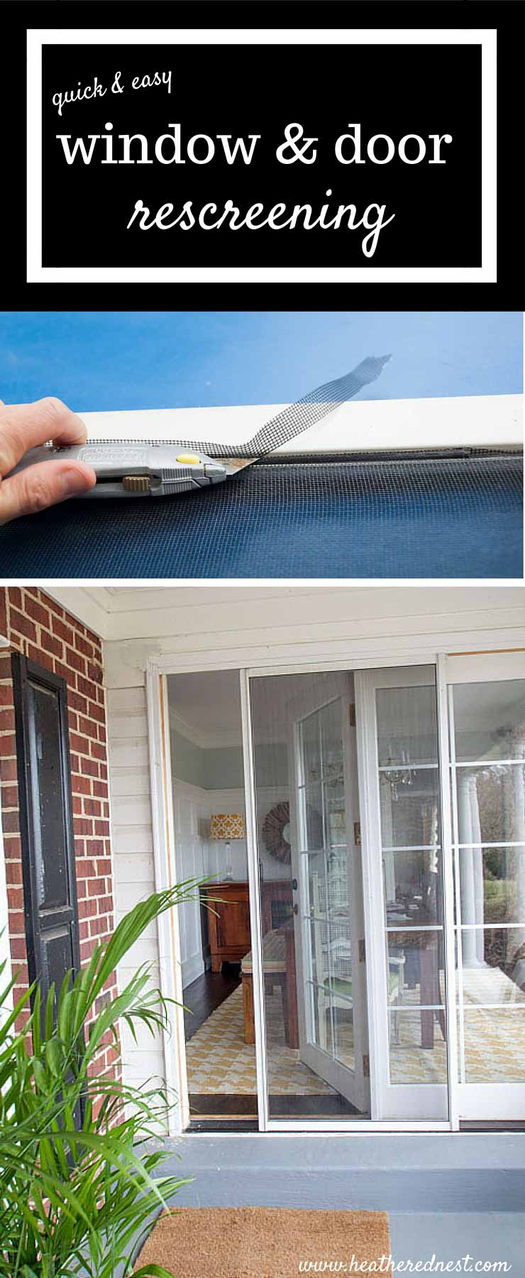 DIY window and door rescreening is EASY, QUICK & can save you a bundle of $$! We'll walk you through it. GOTTA TRY THIS ASAP!! from www.heatherednest.com
