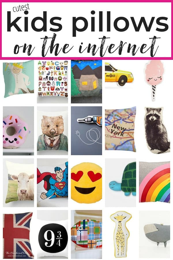 Run RIGHT NOW! Don't scour 85 places on the internet because this post has ALLL the cutest kids pillows rounded up in one spot! Animal pillows, rainbow pillows, ice cream pillows, NYC pillows, camping pillows, emoji pillows and so many more! #kidspillows #noveltypillows #animalpillows #girlspillowideas #boyspillowideas #uniquepillows #originalpillowideas