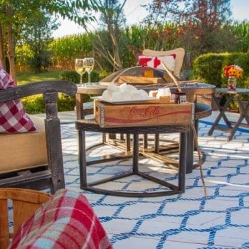 Painted Outdoor DIY Rug with a stencil and paint! Less expensive, lasts longer, and never gets mildewy or yucky like a typical outdoor rug!!! GREAT idea!!! www.heatherednest.com