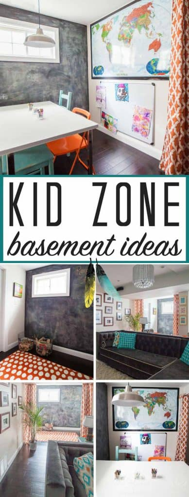 Lots of popular Ikea products in this basement design. Great kid friendly basement ideas!!