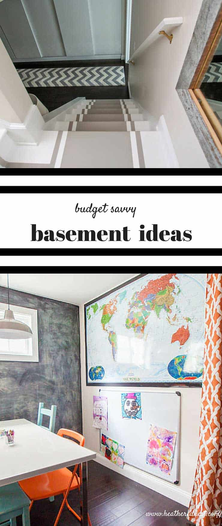 Great article with budget conscious basement ideas. Basement renovations can be very expensive. This post has awesome tips for tackling a basement makeover with DIY projects and budget friendly materials and design ideas!! Complete source list is super helpful too!! from www.heatherednest.com