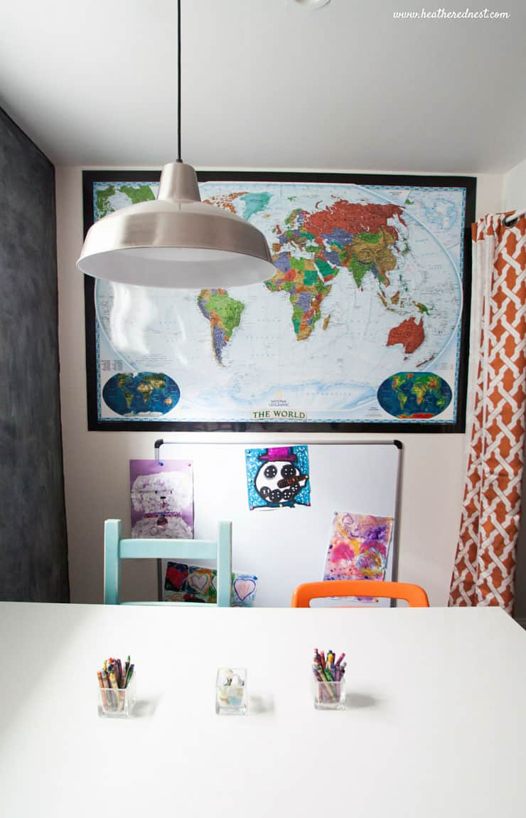 Looking for some kid friendly basement design ideas that will also be appealing to the rest of the family? This post has great budget friendly and DIY basement ideas, with a complete source list!!! from www.heatherednest.com