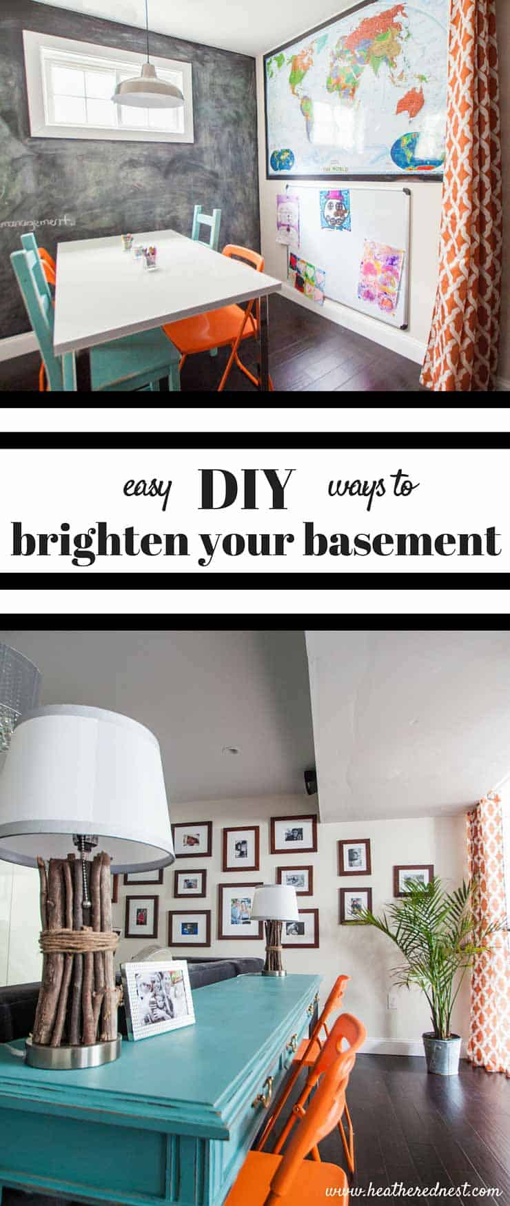 Bright ideas to brighten that basement! Basements can be dark and uninviting if not designed well. DIY and budget friendly basement ideas to brighten up your basement GREAT DIY SERIES! from www.heatherednest.com