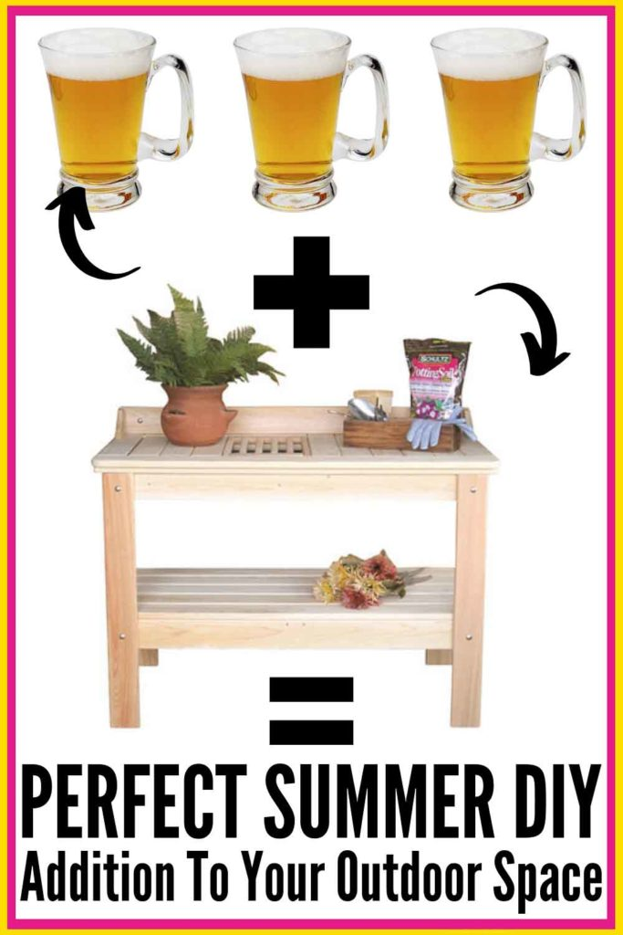 Looking for a great outdoor bar cart / outdoor drink station idea? Turn a POTTING BENCH or gardening bench into your bar! With a few simple modifications, a potting bench can become the ideal DIY bar!