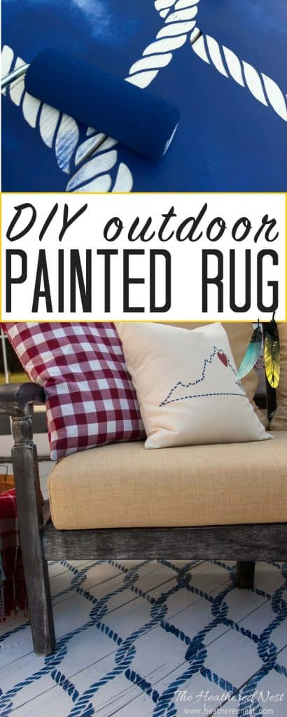 Honey, let's do this!! Painted Outdoor DIY Rug with a stencil and paint! Less expensive, lasts longer, and never gets mildewy or yucky like a typical outdoor rug!!! A popular summer DIY project from www.heatherednest.com