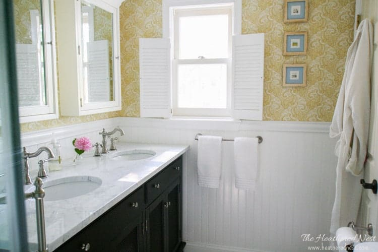 DIY bathroom marble double vanity and paisley wallpaper www.heatherednest.com