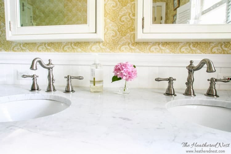 small master bathroom ideas from www.heatherednest.com double vanity, paisley wallpaper, corner shower and pebble tile